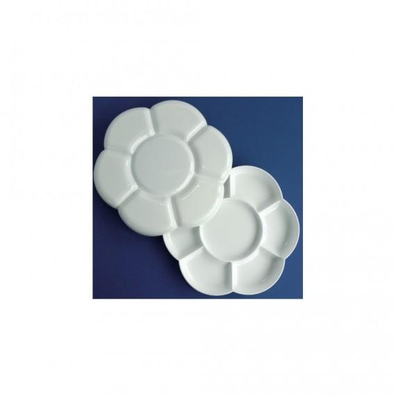 Palette Plastique OZ - Pour gouache - 7 Alvéoles et Couvercle