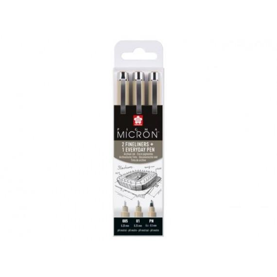 Boite feutre SAKURA Pigma micron - 3 Feutres - Noir - PO (XSDK-3)