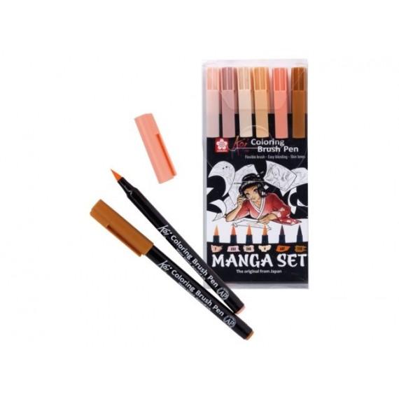 Boite feutres pinceaux KOI SAKURA - 6 Feutres - Manga brush