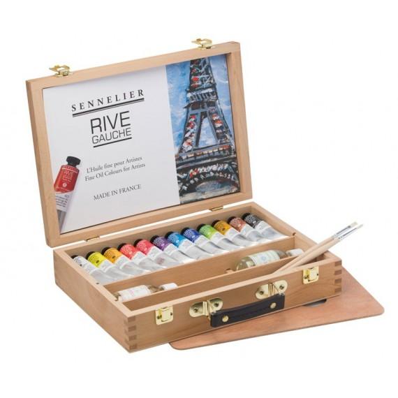 Coffret bois huile Rive Gauche sennelier 12 tubes et accessoires