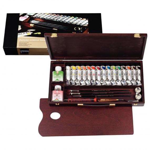 Coffret acrylique REMBRANDT Professionnal - Acrylique extra-fine - 15 tubes 40 ml + Accessoires
