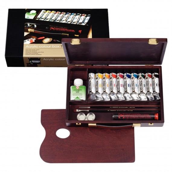 Coffret acrylique REMBRANDT Traditionnal - Acrylique extra-fine - 10 tubes 40 ml + Accessoires