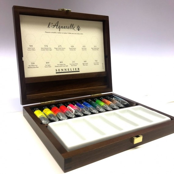 coffret bois Sennelier aquarelle de 12 tubes et accessoires