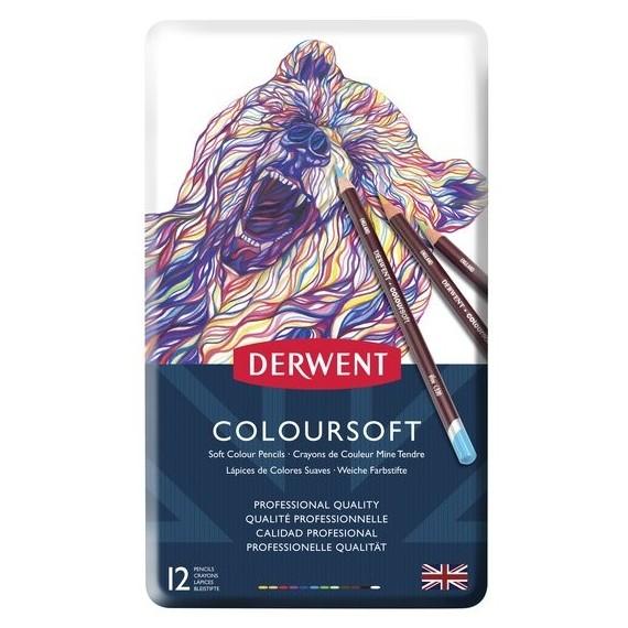 Boite crayon de couleurs DERWENT Coloursoft - 12 crayons - (Métal)