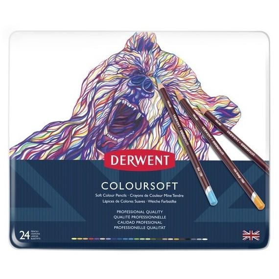 Boite crayon de couleurs DERWENT Coloursoft - 24 crayons - (Métal)