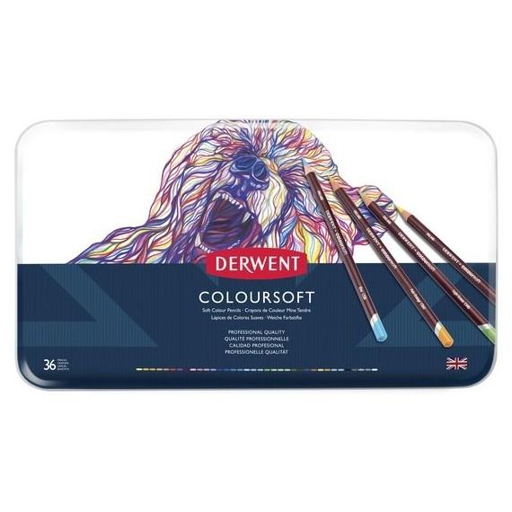 Boite crayon de couleurs DERWENT Coloursoft - 36 crayons - (Métal)
