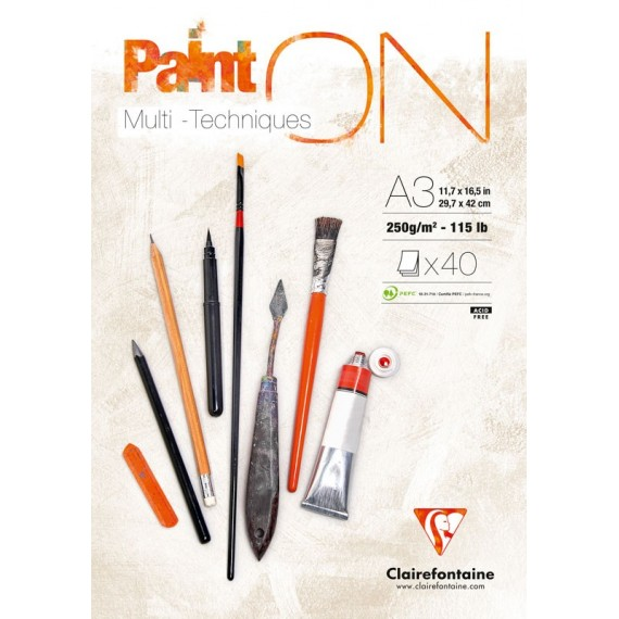 "Bloc Multitechnique CLAIREFONTAINE -""Paint'On""- 25 Feuilles - Format: A3 - 250 gr  Blanc lisse"