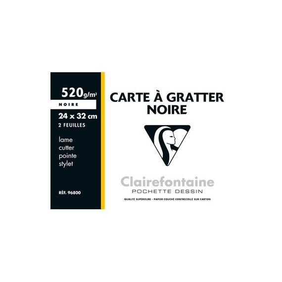 Carte à gratter CLAIREFONTAINE - Pochette de 2 feuilles - F:24 x 32 cm - Noir