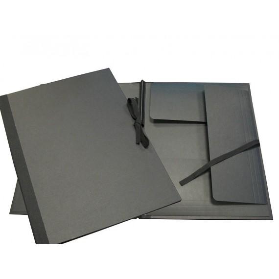 Carton à dessin PRAT - F: 45 x 66 cm - A rubans - Noir