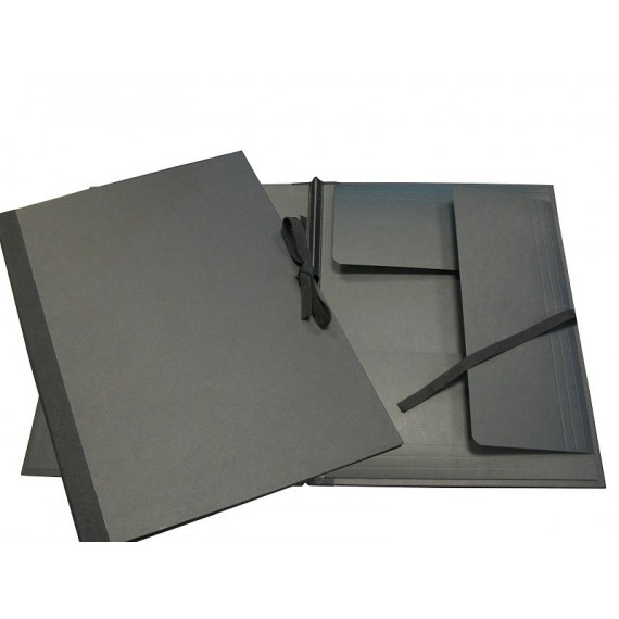 Carton à dessin PRAT - F: 52 x 72 cm - A rubans - Noir