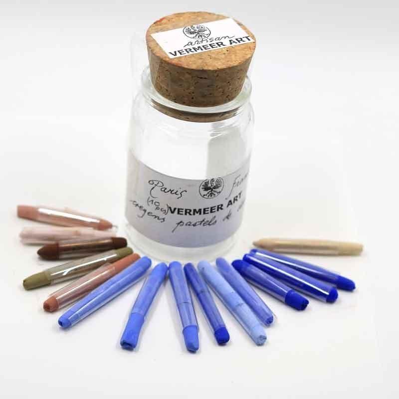Flacon pastel sec VERMEER - 10 pastels assorties  - (Verre)
