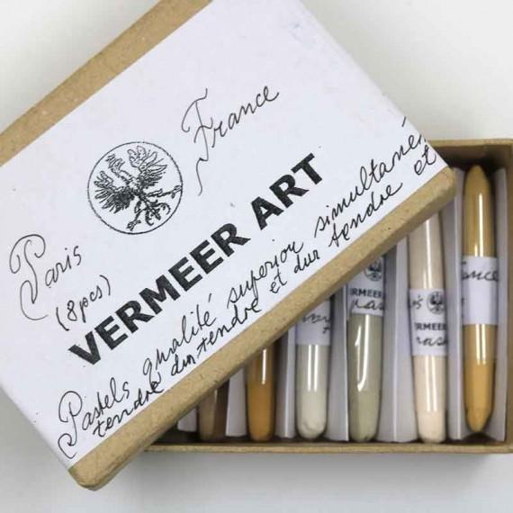 Boite pastel sec VERMEER - 8 pastels assorties  - (Carton)