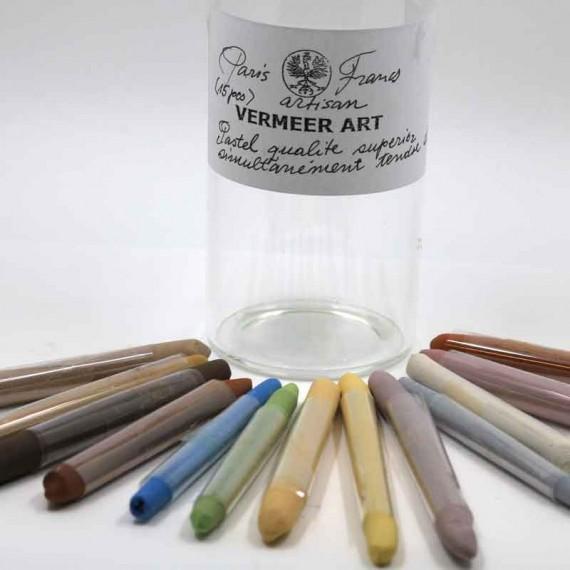 Flacon pastel sec VERMEER - 15 pastels assorties  - (Verre)